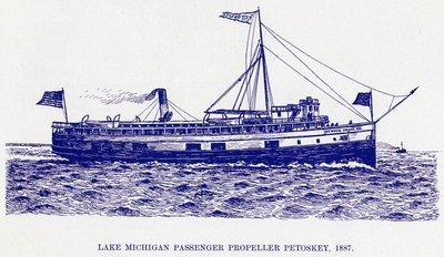 Lake Michigan Passenger Propeller Petoskey, 1887