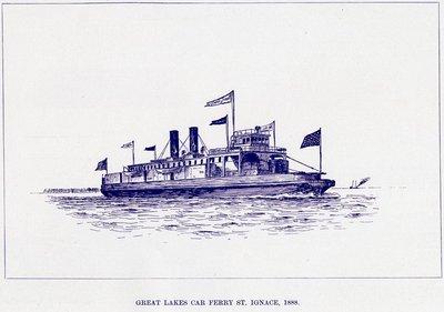 Great Lakes Car Ferry St. Ignace, 1888.