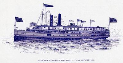 Lake Erie Passenger steamboat CITY OF DETROIT, 1889