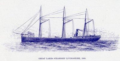 Great Lakes Steamship LIVINGSTONE, 1889
