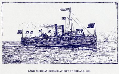 Lake Michigan steamboat CITY OF CHICAGO, 1890