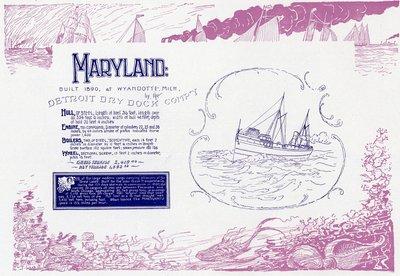 Great Lakes Steamship MARYLAND, 1890