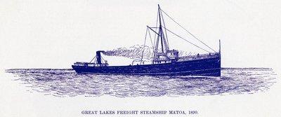 Great Lakes Freight Steamship MATOA, 1890