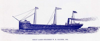 Great Lakes Steamship W. H. GILCHER, 1892
