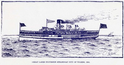 Great Lakes excursion steamboat CITY OF TOLEDO, 1891
