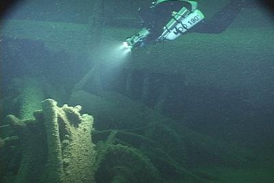 Break in the hull of the OCEAN WAVE