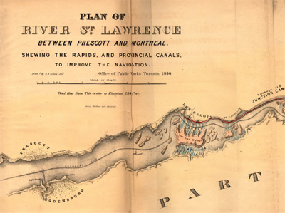 Plan of River St. Lawrence Between Prescott and Montreal