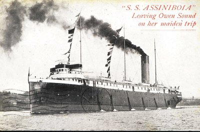 S. S. ASSINIBOIA leaving Owen Sound on her maiden trip