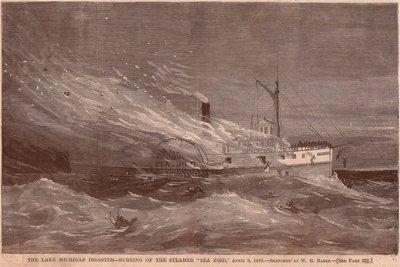 The Lake Michigan Disaster -- Burning of the Steamer SEA BIRD