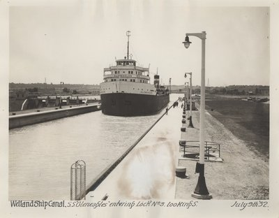 "Welland Ship Canal. S.S. ""Gleneagles"" entering Lock No. 3, looking S."