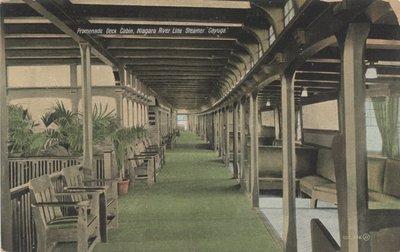 """Promenade Deck Cabin, Niagara River Line Steamer """"Cayuga"""""""