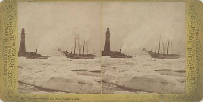 Tug and vessel in the Ice at Buffalo Light