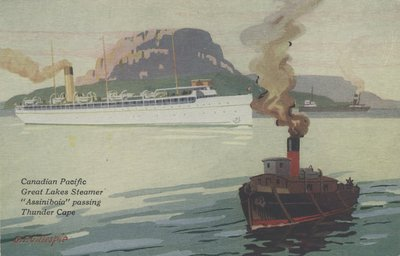 """Canadian Pacific Great Lakes Steamer """"Assiniboia"""" passing Thunder Cape"""