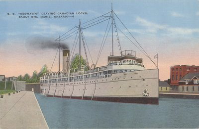 "S. S. ""Keewatin,"" leaving Canadian Locks, Sault Ste. Marie, Ontario"