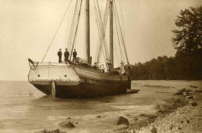 Schooner  D. Freeman ashore between Fair Haven and Oswego, 1880s
