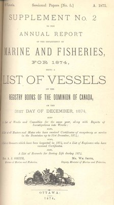 Report of Chairman of Board of Steamboat Inspection For the Year Ended 31st December 1874