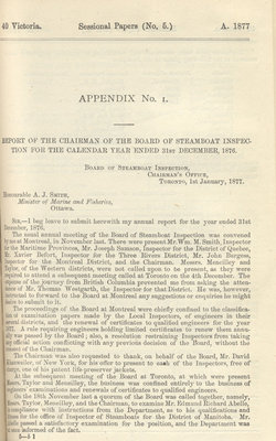 Report of Chairman of Board of Steamboat Inspection For the Year Ended 31st December 1876