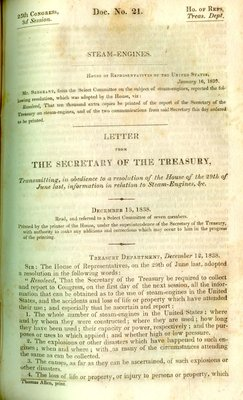 Letter from the Secretary of the Treasury, Transmitting, in obedience to a resolution of the House of the 29th of June last, information in relation to Steam-Engines, &c