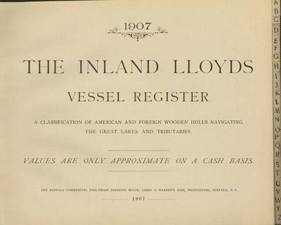 1907 Inland Lloyds Vessel Register