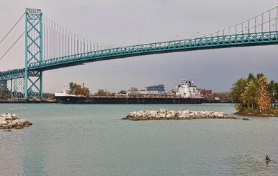 Sam Laud passing under the Ambassador Bridge