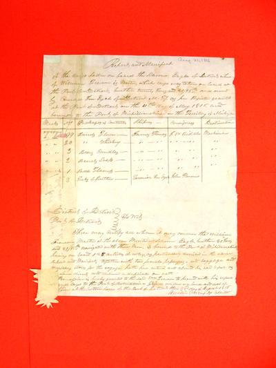 Schooner Eagle, Manifest, 21 Aug 1816