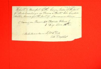 Boat, John Campbell, Manifest, 6 Sep 1816