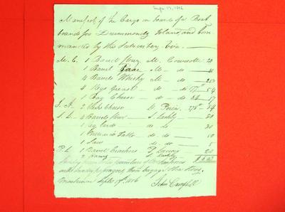 Boat, John Campbell, Manifest, 17 Sep 1816