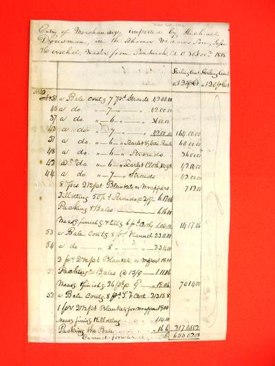 Schooner Widows Son, Manifest, 30 Nov 1816