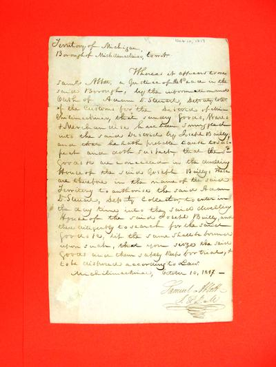 Warrant, 10 Oct 1817: to Adam D. Stewart re goods suspected of being smuggled