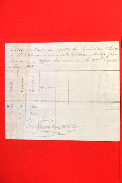 Schooner, Thames, Manifest, 17 May 1802