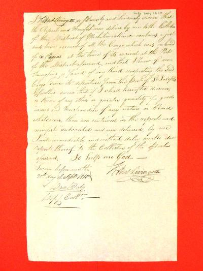 Canoe, Robert Livingston, Oath, 20 Sep 1810