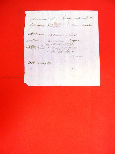 Schooner, Vermillion, Manifest, 17 May 1816