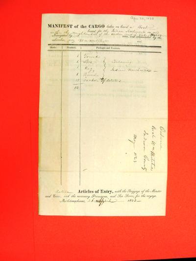 Boats, Wm Mitchell, Manifest, 26 Apr 1823