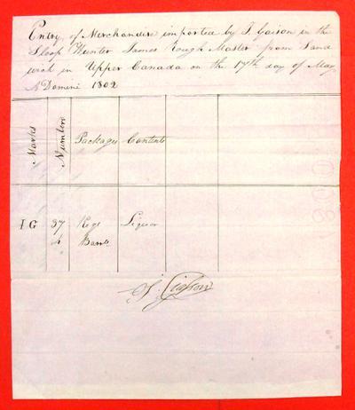 Sloop Hunter, Manifest, 17 May 1802