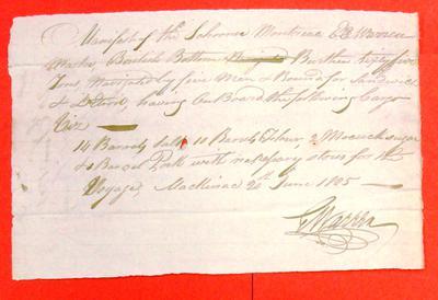Schooner Montreal, Manifest, 20 Jun 1805