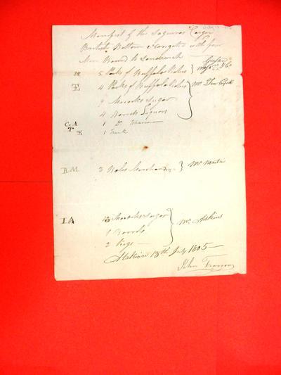 Sloop Saguina, Manifest, 13 Jul 1805