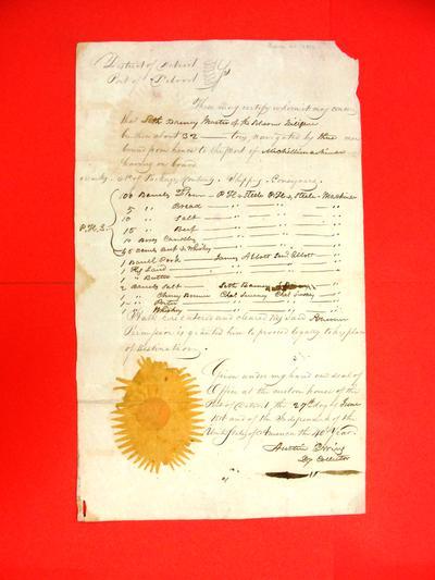 Schooner Diligence, Manifest, 27 Jun 1816