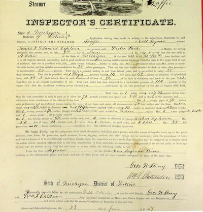 Steamer Traffic, Inspector's Certificate, 9 June 1857
