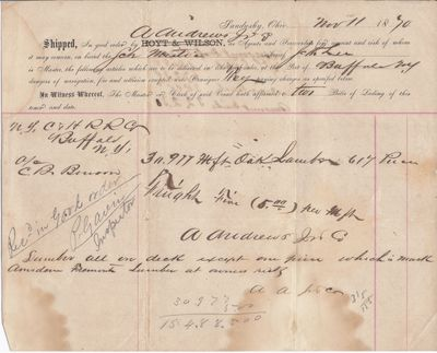 A. Andrews Jr. to Mystic, Bill of Lading