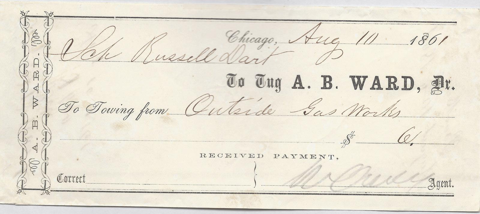 A. B. Ward, Tug to Russell Dart, Receipt