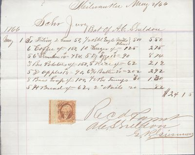 A. C. Sheldon to Jura, Receipt