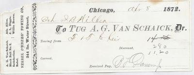 A. G. Van Shaick Tug to John B. Wilbor, Receipt