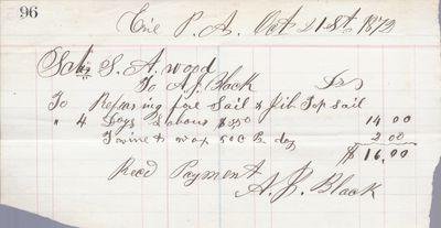 A. J. Black to S. A. Wood, Receipt