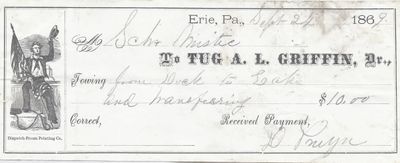 A. L. Griffin, Tug to Mystic, Receipt