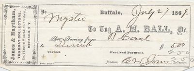 A. M. Ball, Tug to Mystic, Receipt