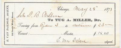 A. Miller Tug to John B. Wilbor, Receipt