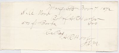A. R. Harlow to S. A. Wood, Receipt