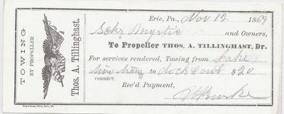 A. Tillinghast, Propeller to Mystic, Receipt