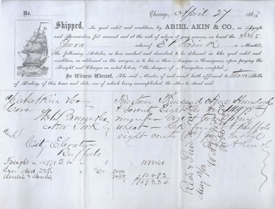 Abiel Akin & Co. to Jura, Bill of Lading