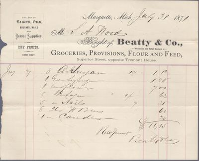 Beatty & Co. to S. A. Wood, Receipt
